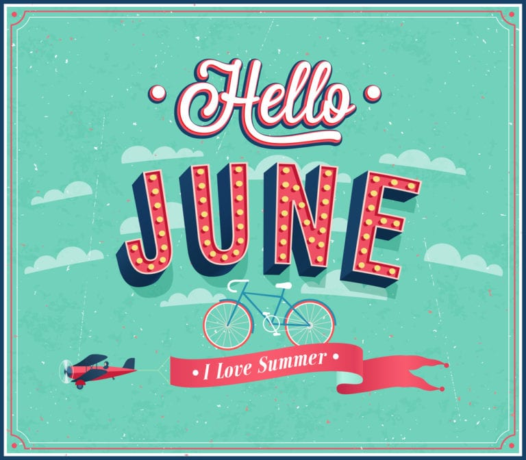 """graphic fancy font reading """"hello June"""" for June social media themes"""